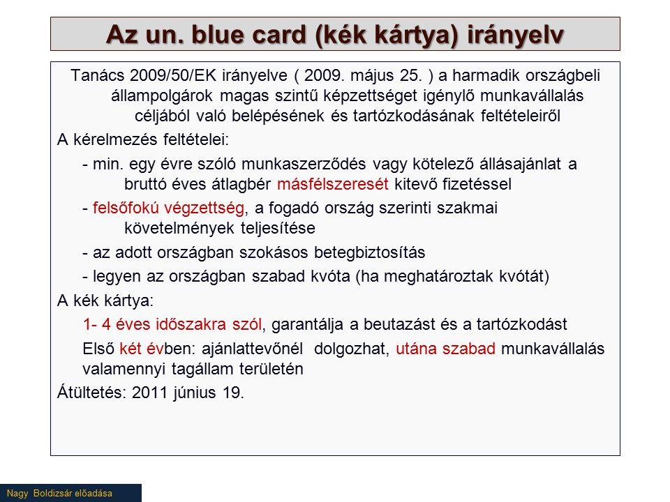 Nagy Boldizsár előadása Az un. blue card (kék kártya) irányelv Tanács 2009/50/EK irányelve ( 2009.
