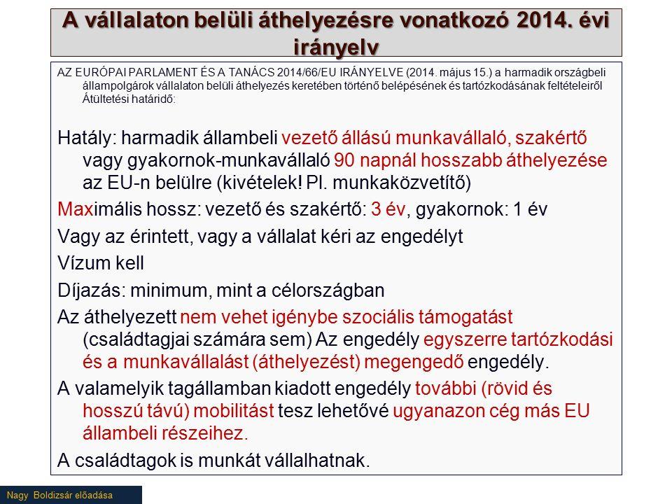 Nagy Boldizsár előadása A vállalaton belüli áthelyezésre vonatkozó 2014. évi irányelv AZ EURÓPAI PARLAMENT ÉS A TANÁCS 2014/66/EU IRÁNYELVE (2014. máj