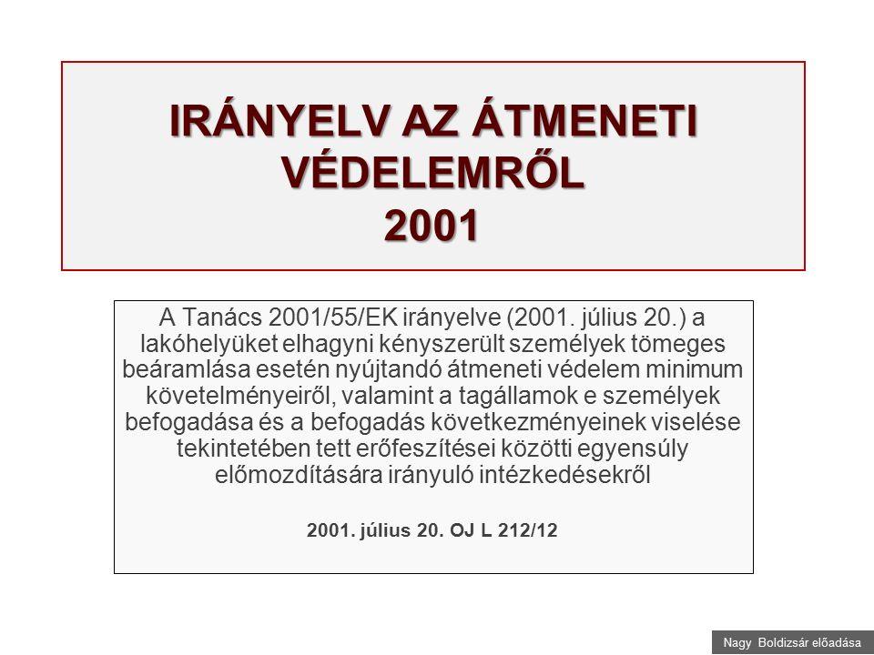 Nagy Boldizsár előadása IRÁNYELV AZ ÁTMENETI VÉDELEMRŐL 2001 A Tanács 2001/55/EK irányelve (2001. július 20.) a lakóhelyüket elhagyni kényszerült szem