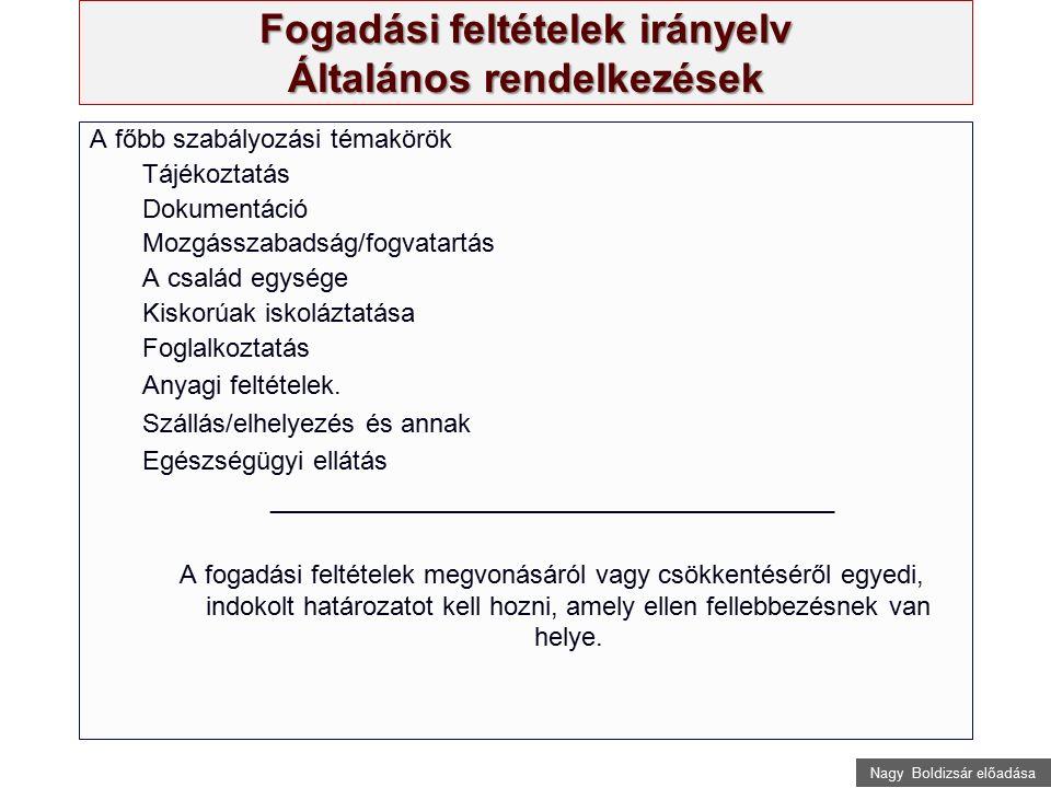 Nagy Boldizsár előadása Fogadási feltételek irányelv Általános rendelkezések A főbb szabályozási témakörök Tájékoztatás Dokumentáció Mozgásszabadság/f