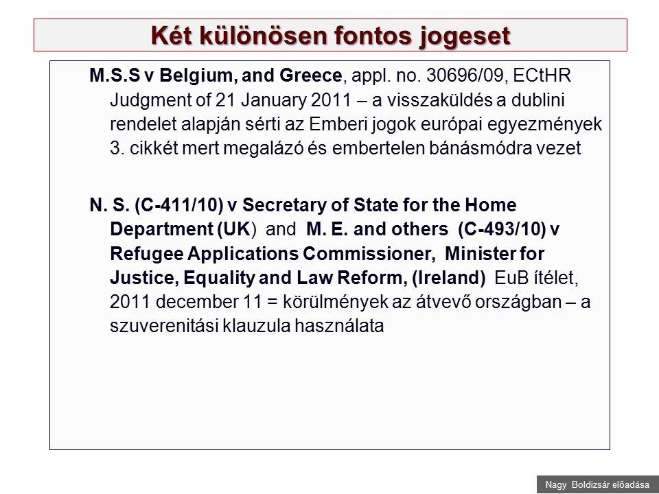 Nagy Boldizsár előadása Két különösen fontos jogeset M.S.S v Belgium, and Greece, appl. no. 30696/09, ECtHR Judgment of 21 January 2011 – a visszaküld