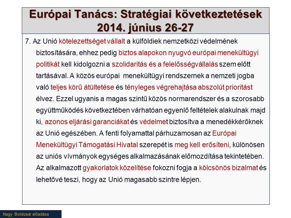 Nagy Boldizsár előadása Európai Tanács: Stratégiai következtetések 2014. június 26-27 7. Az Unió kötelezettséget vállalt a külföldiek nemzetközi védel
