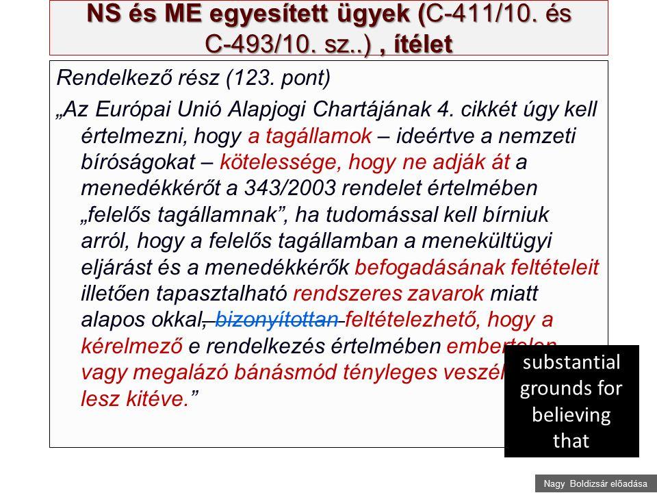 """Nagy Boldizsár előadása NS és ME egyesített ügyek (C ‑ 411/10. és C ‑ 493/10. sz..), ítélet Rendelkező rész (123. pont) """"Az Európai Unió Alapjogi Char"""