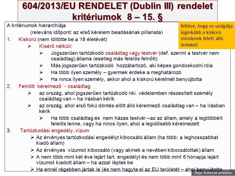 Nagy Boldizsár előadása 604/2013/EU RENDELET (Dublin III) rendelet kritériumok 8 – 15. § A kritériumok hierarchiája (releváns időpont: az első kérelem