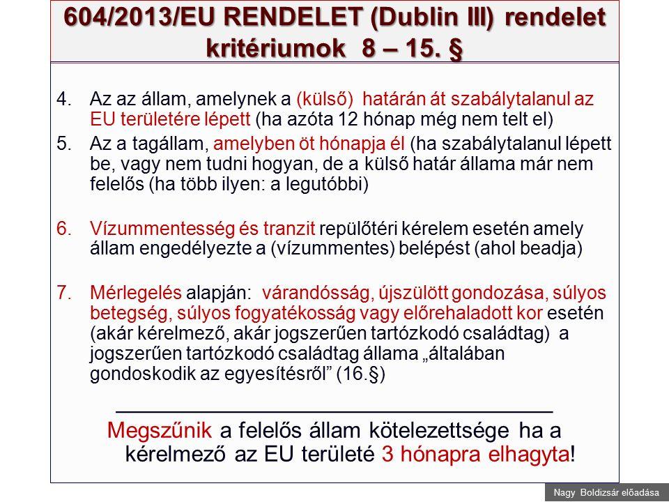 Nagy Boldizsár előadása 604/2013/EU RENDELET (Dublin III) rendelet kritériumok 8 – 15. § 4.Az az állam, amelynek a (külső) határán át szabálytalanul a
