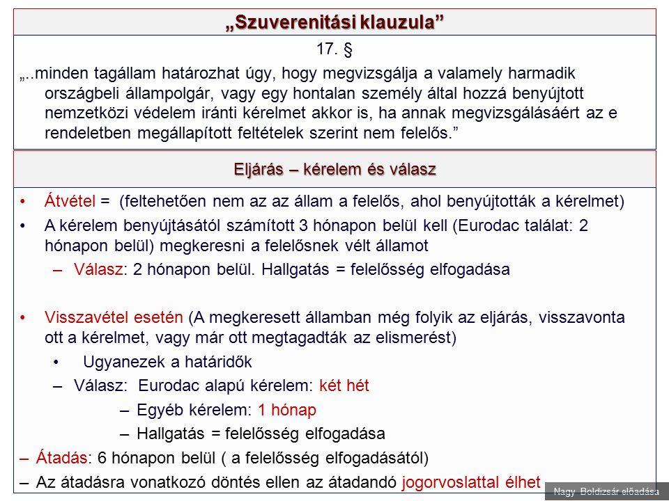 """Nagy Boldizsár előadása """"Szuverenitási klauzula"""" 17. § """"..minden tagállam határozhat úgy, hogy megvizsgálja a valamely harmadik országbeli állampolgár"""