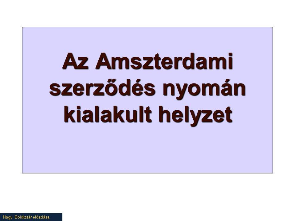 Nagy Boldizsár előadása Az Amszterdami szerződés nyomán kialakult helyzet