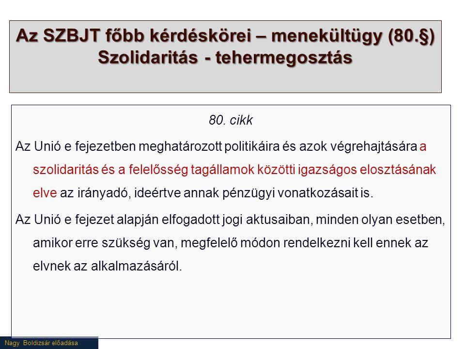 Nagy Boldizsár előadása Az SZBJT főbb kérdéskörei – menekültügy (80.§) Szolidaritás - tehermegosztás 80.