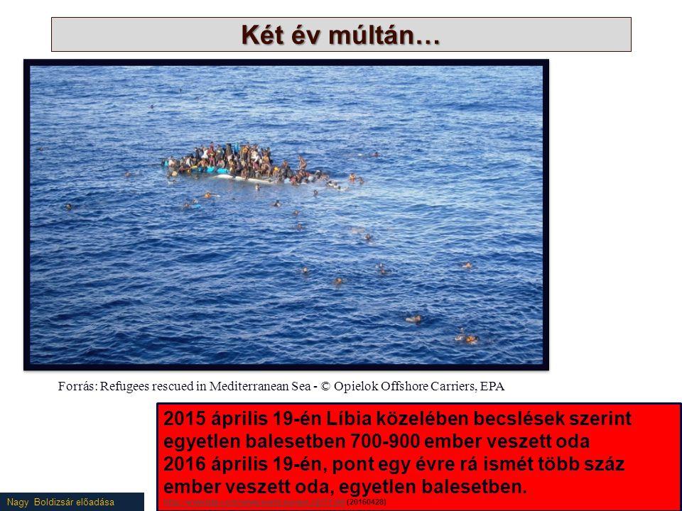 Nagy Boldizsár előadása Két év múltán… Forrás: Refugees rescued in Mediterranean Sea - © Opielok Offshore Carriers, EPA 2015 április 19-én Líbia közelében becslések szerint egyetlen balesetben 700-900 ember veszett oda 2016 április 19-én, pont egy évre rá ismét több száz ember veszett oda, egyetlen balesetben.