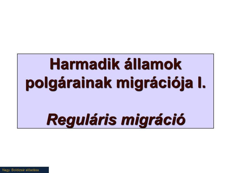 Nagy Boldizsár előadása Harmadik államok polgárainak migrációja I. Reguláris migráció