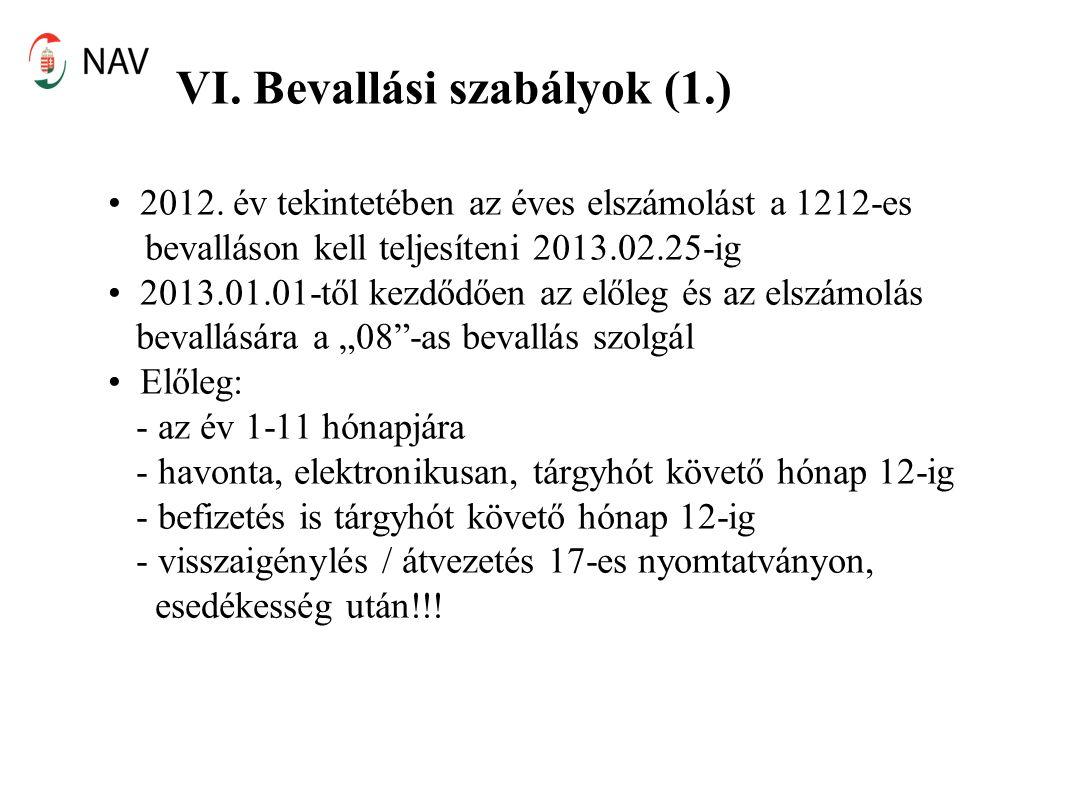 VI. Bevallási szabályok (1.) 2012.
