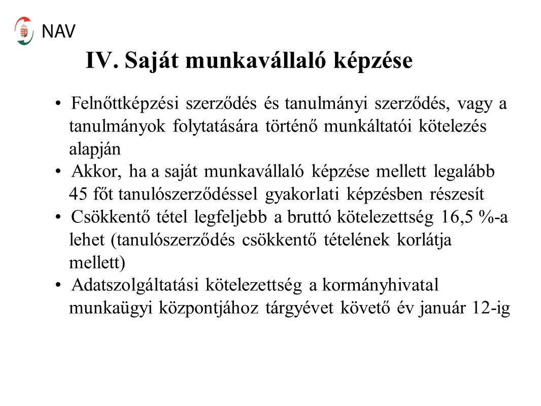IV. Saját munkavállaló képzése Felnőttképzési szerződés és tanulmányi szerződés, vagy a tanulmányok folytatására történő munkáltatói kötelezés alapján