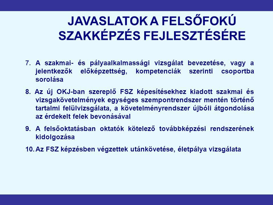 JAVASLATOK A FELSŐFOKÚ SZAKKÉPZÉS FEJLESZTÉSÉRE 7.