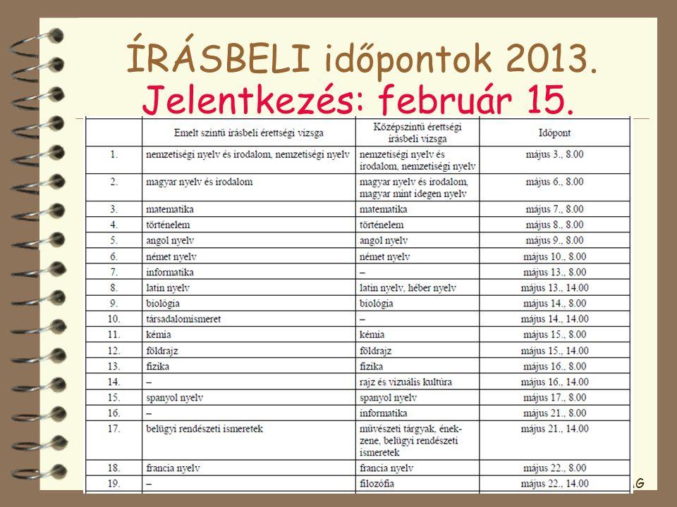 ÍRÁSBELI időpontok 2013. Jelentkezés: február 15. JAG