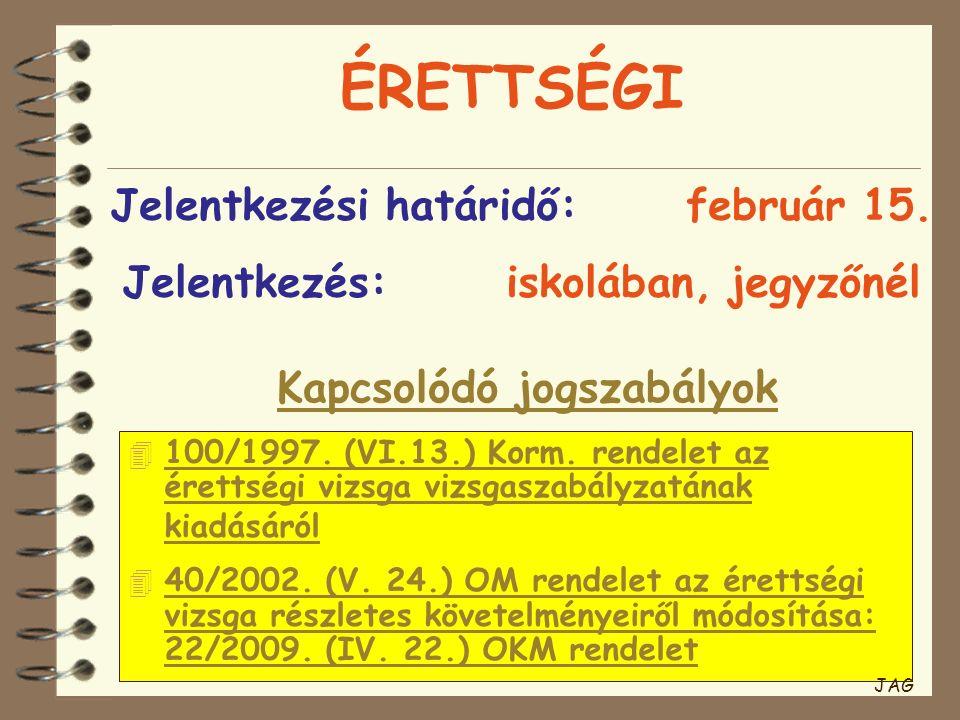 ÉRETTSÉGI Kapcsolódó jogszabályok Jelentkezési határidő:február 15. Jelentkezés:iskolában, jegyzőnél  100/1997. (VI.13.) Korm. rendelet az érettségi