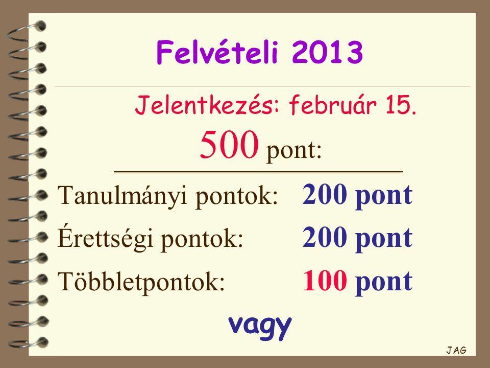 Felvételi 2013 500 pont: Tanulmányi pontok: 200 pont Érettségi pontok: 200 pont Többletpontok: 100 pont vagy Jelentkezés: február 15. JAG
