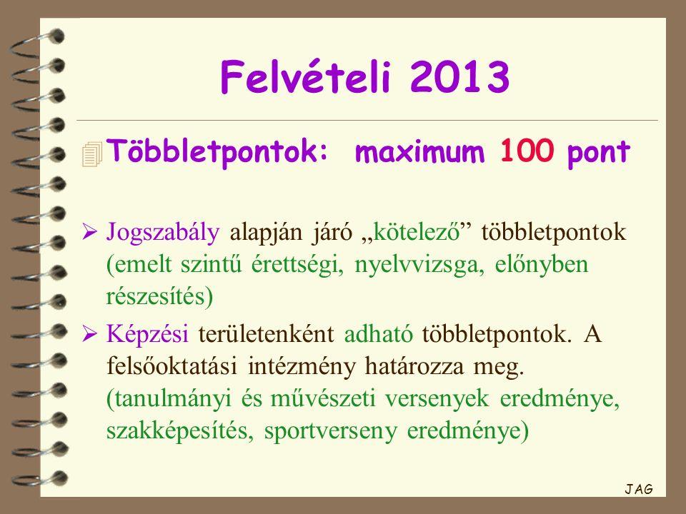 """Felvételi 2013 4 Többletpontok:maximum 100 pont  Jogszabály alapján járó """"kötelező többletpontok (emelt szintű érettségi, nyelvvizsga, előnyben részesítés)  Képzési területenként adható többletpontok."""