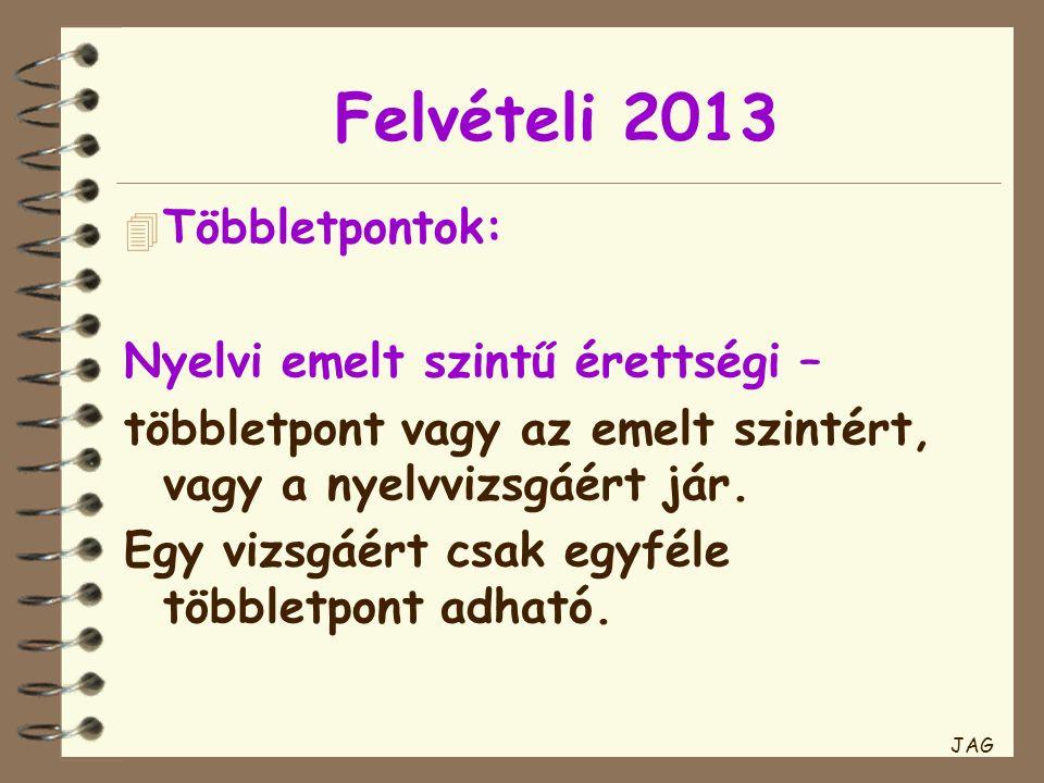 Felvételi 2013 4 Többletpontok: Nyelvi emelt szintű érettségi – többletpont vagy az emelt szintért, vagy a nyelvvizsgáért jár.