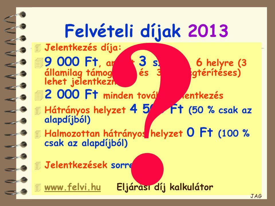 Felvételi díjak 2013 4 Jelentkezés díja: 4 9 000 Ft, amiért 3 szakra, 6 helyre (3 államilag támogatott és 3 költségtérítéses) lehet jelentkezni 4 2 00