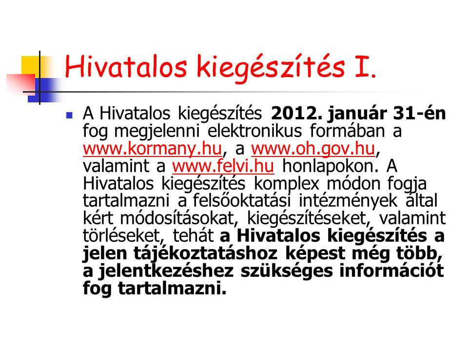 Hivatalos kiegészítés I. A Hivatalos kiegészítés 2012. január 31-én fog megjelenni elektronikus formában a www.kormany.hu, a www.oh.gov.hu, valamint a