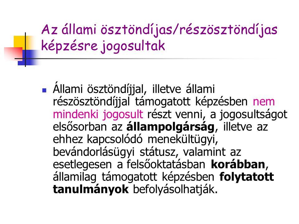 A hallgatói szerződés által megszabott kötelezettségek C.) átalányként megfizetni a hallgató adott képzésére tekintettel a Magyar Állam által folyósított állami ösztöndíj vagy állami részösztöndíj 50%-ának megfelelő összeget a Magyar Államnak, ha az első pontban meghatározott határidőn belül nem szerzi meg a magyar állami ösztöndíjjal vagy állami részösztöndíjjal támogatott képzésben az oklevelet, vagy