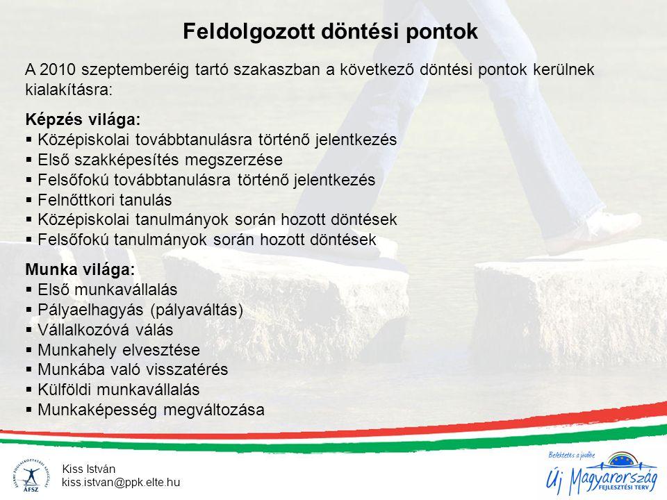 Kiss István kiss.istvan@ppk.elte.hu Feldolgozott döntési pontok A 2010 szeptemberéig tartó szakaszban a következő döntési pontok kerülnek kialakításra