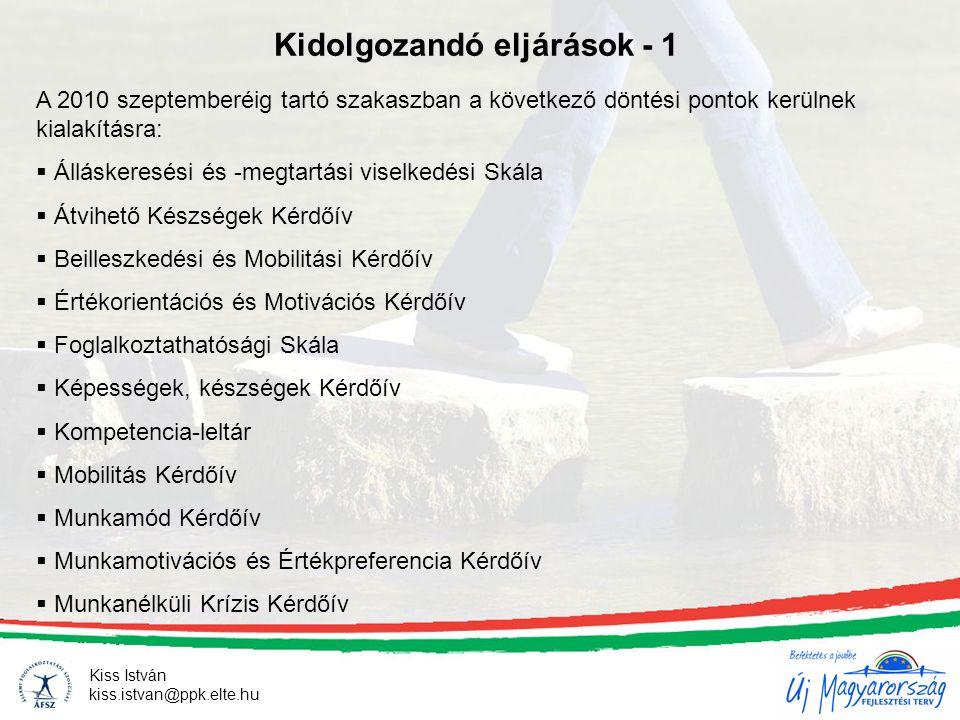 Kiss István kiss.istvan@ppk.elte.hu Kidolgozandó eljárások - 1 A 2010 szeptemberéig tartó szakaszban a következő döntési pontok kerülnek kialakításra: