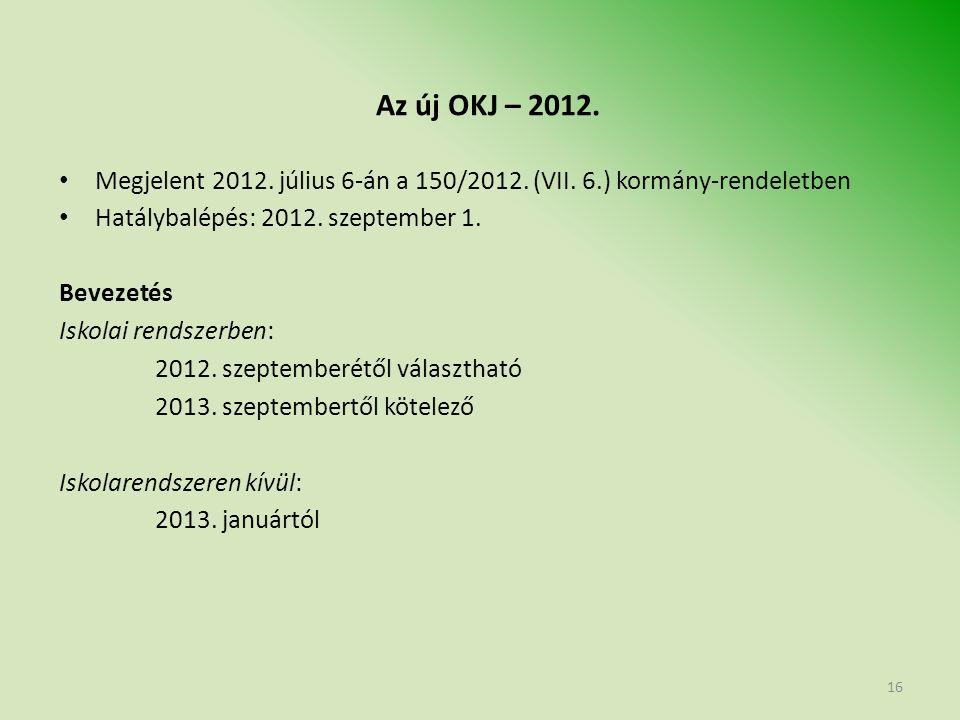 Az új OKJ – 2012. Megjelent 2012. július 6-án a 150/2012.