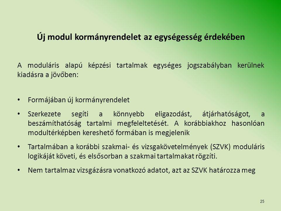 25 Új modul kormányrendelet az egységesség érdekében A moduláris alapú képzési tartalmak egységes jogszabályban kerülnek kiadásra a jövőben: Formájában új kormányrendelet Szerkezete segíti a könnyebb eligazodást, átjárhatóságot, a beszámíthatóság tartalmi megfeleltetését.