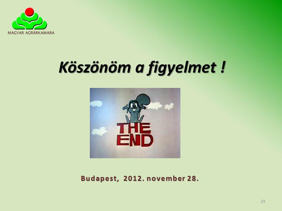 Köszönöm a figyelmet ! Budapest, 2012. november 28. MAGYAR AGRÁRKAMARA 29