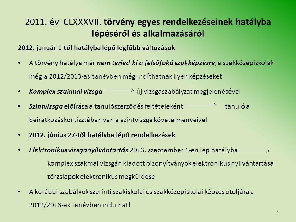 2011. évi CLXXXVII. törvény egyes rendelkezéseinek hatályba lépéséről és alkalmazásáról 2012.