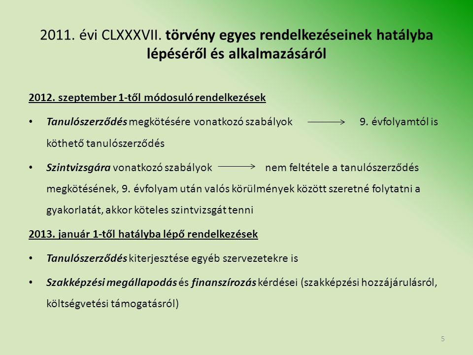 2011.évi CLXXXVII. törvény egyes rendelkezéseinek hatályba lépéséről és alkalmazásáról 2013.