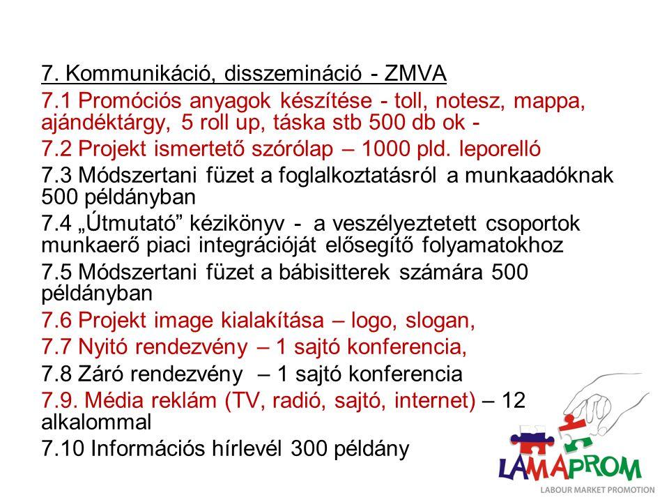 7. Kommunikáció, disszemináció - ZMVA 7.1 Promóciós anyagok készítése - toll, notesz, mappa, ajándéktárgy, 5 roll up, táska stb 500 db ok - 7.2 Projek