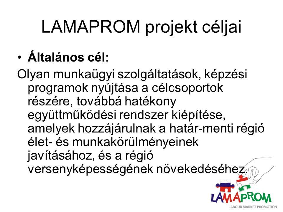 LAMAPROM projekt céljai Általános cél: Olyan munkaügyi szolgáltatások, képzési programok nyújtása a célcsoportok részére, továbbá hatékony együttműködési rendszer kiépítése, amelyek hozzájárulnak a határ-menti régió élet- és munkakörülményeinek javításához, és a régió versenyképességének növekedéséhez.