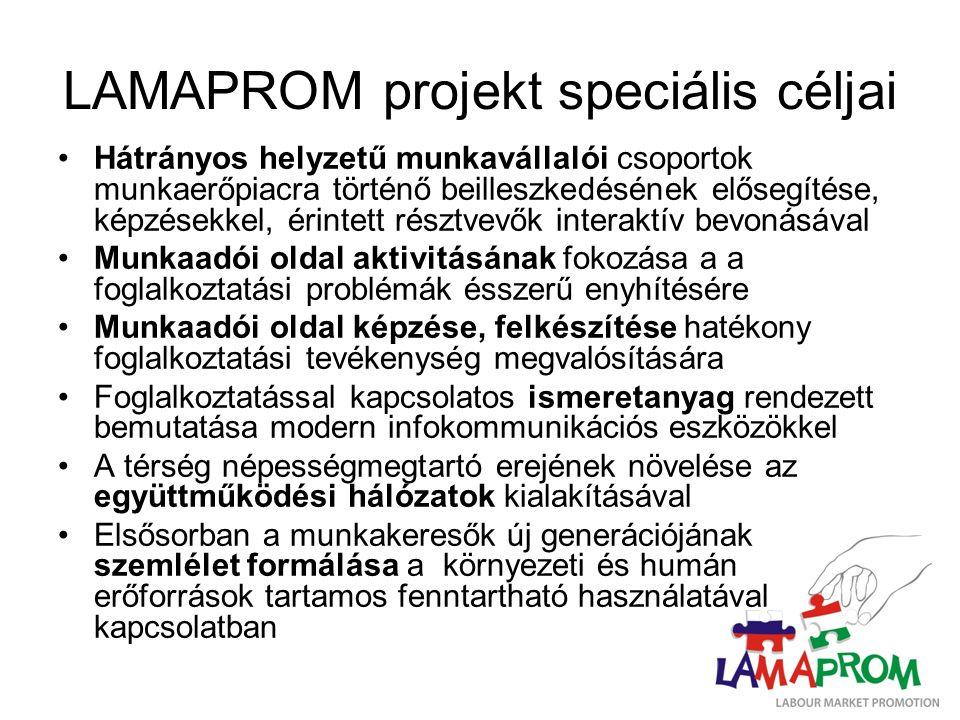 LAMAPROM projekt speciális céljai Hátrányos helyzetű munkavállalói csoportok munkaerőpiacra történő beilleszkedésének elősegítése, képzésekkel, érintett résztvevők interaktív bevonásával Munkaadói oldal aktivitásának fokozása a a foglalkoztatási problémák ésszerű enyhítésére Munkaadói oldal képzése, felkészítése hatékony foglalkoztatási tevékenység megvalósítására Foglalkoztatással kapcsolatos ismeretanyag rendezett bemutatása modern infokommunikációs eszközökkel A térség népességmegtartó erejének növelése az együttműködési hálózatok kialakításával Elsősorban a munkakeresők új generációjának szemlélet formálása a környezeti és humán erőforrások tartamos fenntartható használatával kapcsolatban