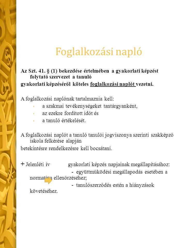 Foglalkozási napló Az Szt. 41.