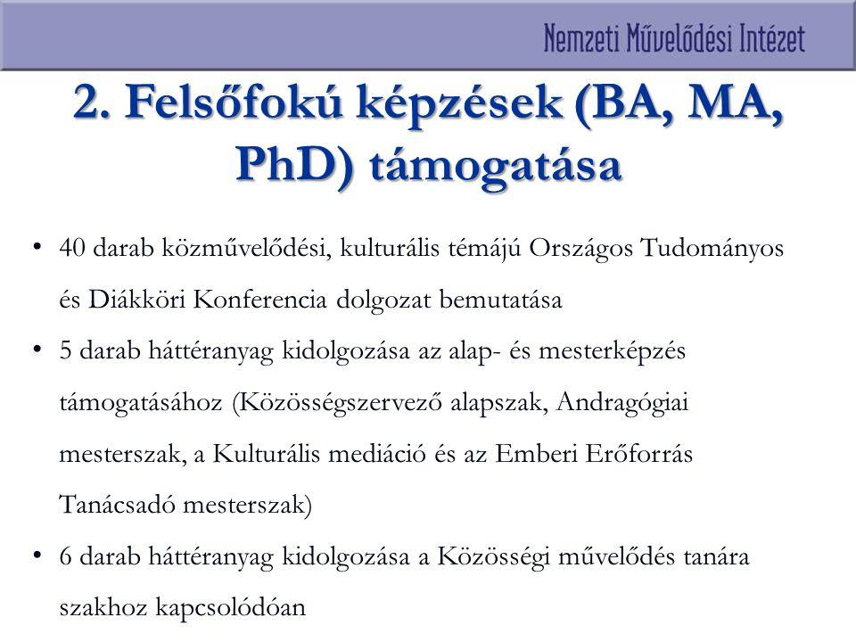 2. Felsőfokú képzések (BA, MA, PhD) támogatása 40 darab közművelődési, kulturális témájú Országos Tudományos és Diákköri Konferencia dolgozat bemutatá