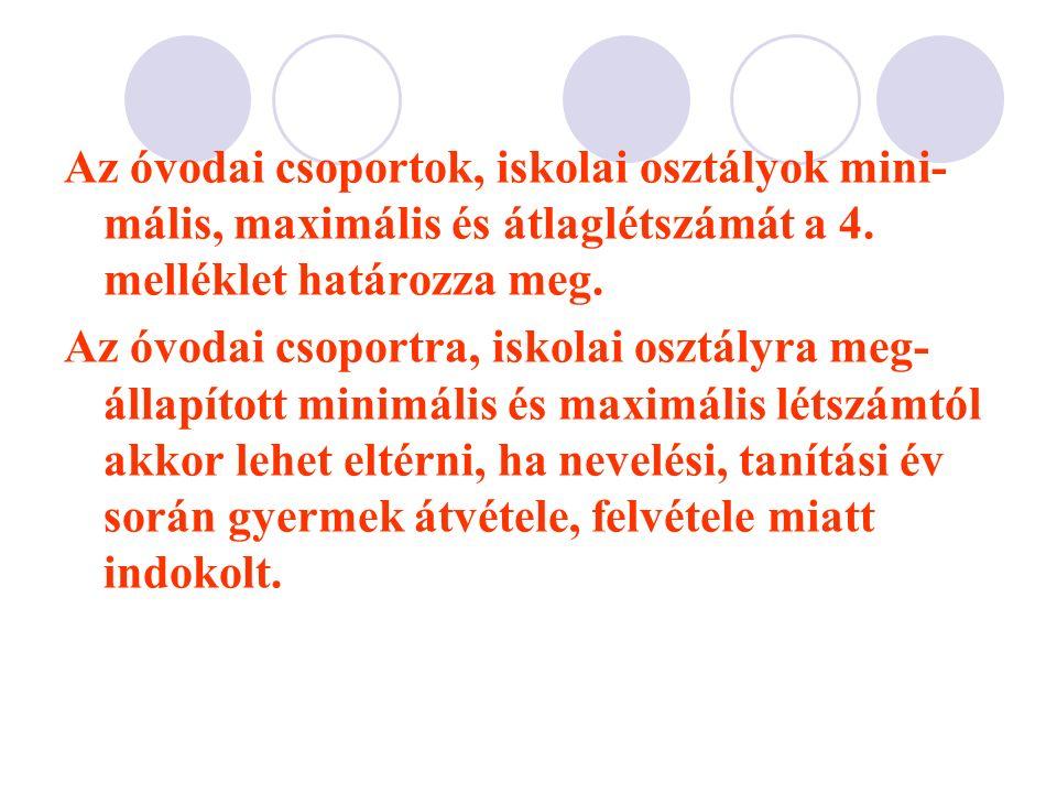 Az óvodai csoportok, iskolai osztályok mini- mális, maximális és átlaglétszámát a 4.