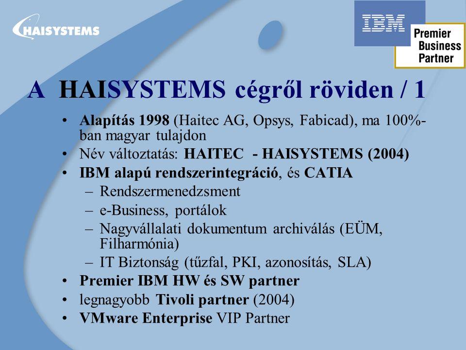 A HAISYSTEMS cégről röviden / 1 Alapítás 1998 (Haitec AG, Opsys, Fabicad), ma 100%- ban magyar tulajdon Név változtatás: HAITEC - HAISYSTEMS (2004) IBM alapú rendszerintegráció, és CATIA –Rendszermenedzsment –e-Business, portálok –Nagyvállalati dokumentum archiválás (EÜM, Filharmónia) –IT Biztonság (tűzfal, PKI, azonosítás, SLA) Premier IBM HW és SW partner legnagyobb Tivoli partner (2004) VMware Enterprise VIP Partner