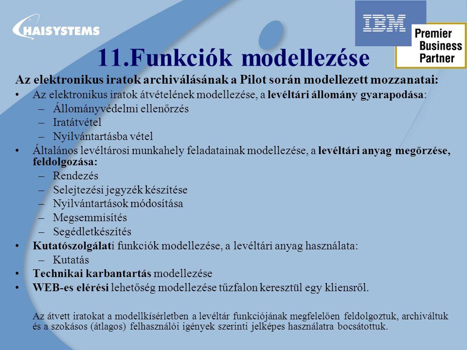 Az elektronikus iratok archiválásának a Pilot során modellezett mozzanatai: Az elektronikus iratok átvételének modellezése, a levéltári állomány gyarapodása: –Állományvédelmi ellenőrzés –Iratátvétel –Nyilvántartásba vétel Általános levéltárosi munkahely feladatainak modellezése, a levéltári anyag megőrzése, feldolgozása: –Rendezés –Selejtezési jegyzék készítése –Nyilvántartások módosítása –Megsemmisítés –Segédletkészítés Kutatószolgálati funkciók modellezése, a levéltári anyag használata: –Kutatás Technikai karbantartás modellezése WEB-es elérési lehetőség modellezése tűzfalon keresztül egy kliensről.
