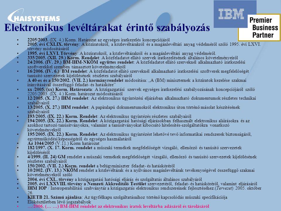 Elektronikus levéltárakat érintő szabályozás 2205/2003.