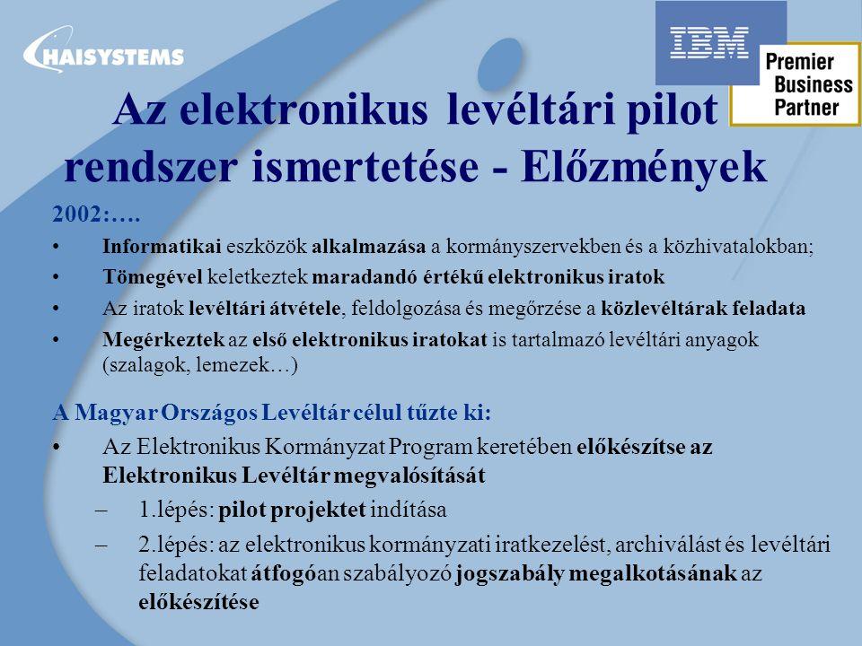 Az elektronikus levéltári pilot rendszer ismertetése - Előzmények 2002:….