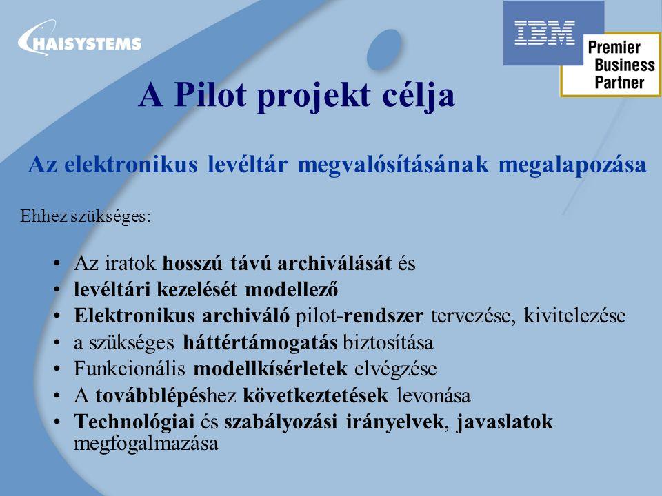 A Pilot projekt célja Az elektronikus levéltár megvalósításának megalapozása Ehhez szükséges: Az iratok hosszú távú archiválását és levéltári kezelését modellező Elektronikus archiváló pilot-rendszer tervezése, kivitelezése a szükséges háttértámogatás biztosítása Funkcionális modellkísérletek elvégzése A továbblépéshez következtetések levonása Technológiai és szabályozási irányelvek, javaslatok megfogalmazása