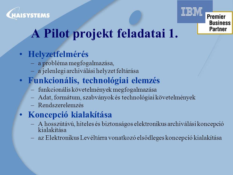 A Pilot projekt feladatai 1.