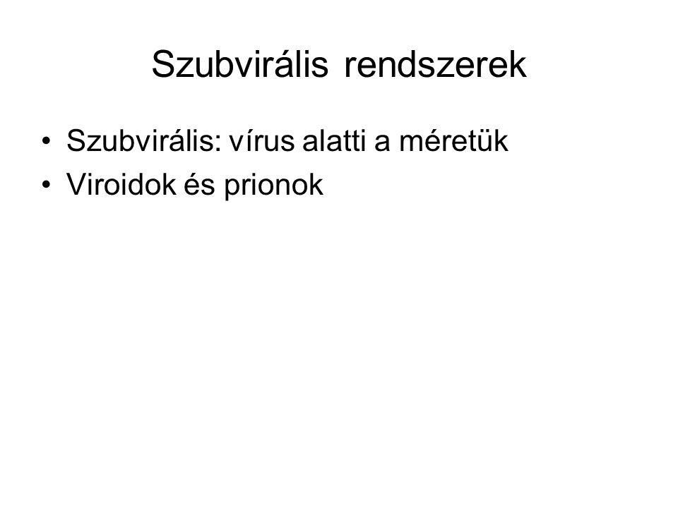 Szubvirális rendszerek Szubvirális: vírus alatti a méretük Viroidok és prionok