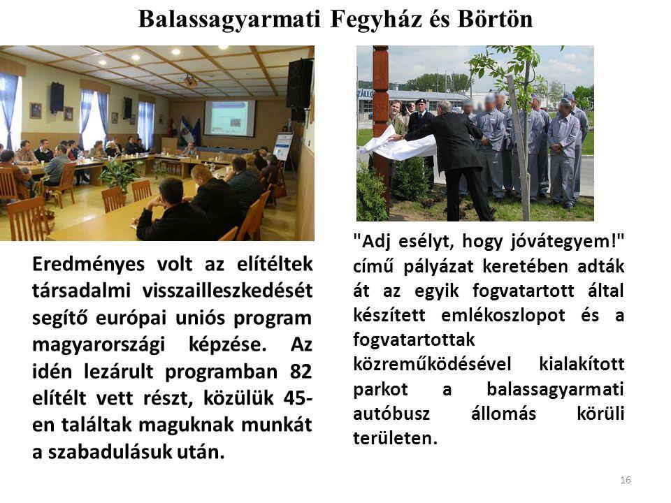 Balassagyarmati Fegyház és Börtön Eredményes volt az elítéltek társadalmi visszailleszkedését segítő európai uniós program magyarországi képzése.