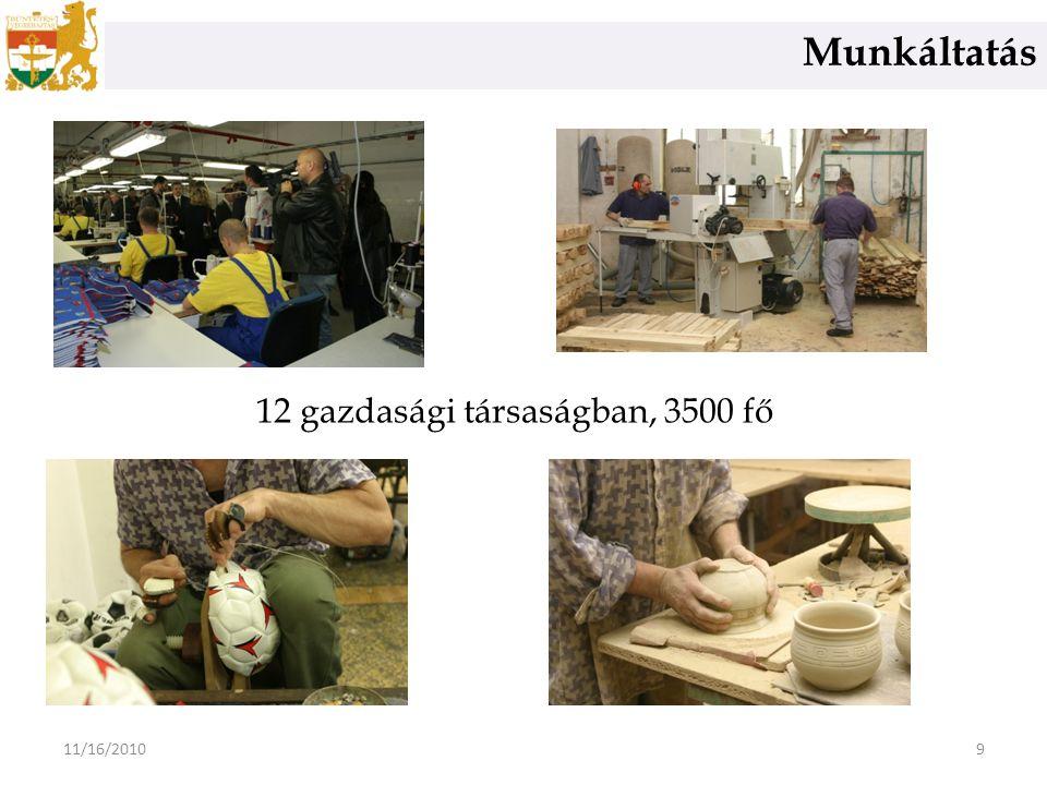 Munkáltatás 911/16/2010 12 gazdasági társaságban, 3500 fő