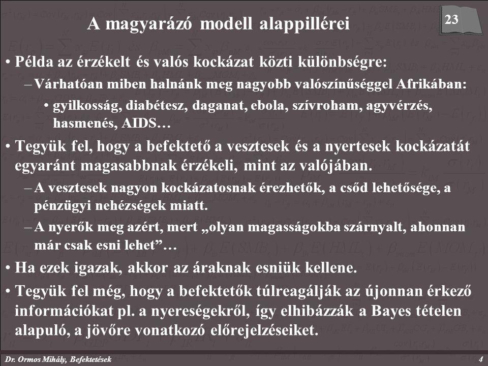 Dr. Ormos Mihály, Befektetések4 A magyarázó modell alappillérei Példa az érzékelt és valós kockázat közti különbségre: –Várhatóan miben halnánk meg na