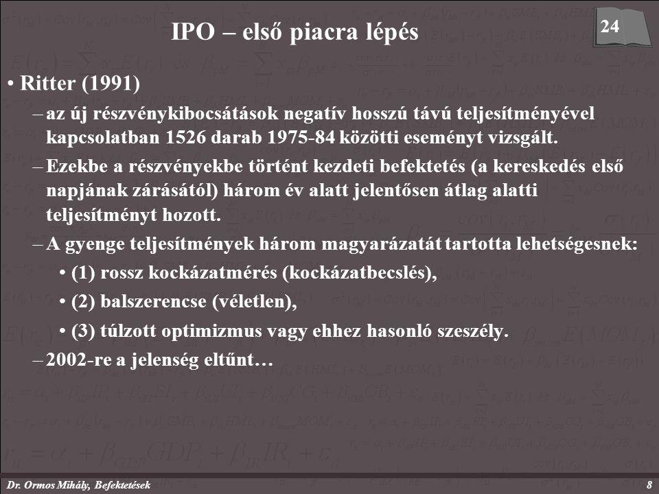 Dr. Ormos Mihály, Befektetések8 IPO – első piacra lépés Ritter (1991) –az új részvénykibocsátások negatív hosszú távú teljesítményével kapcsolatban 15