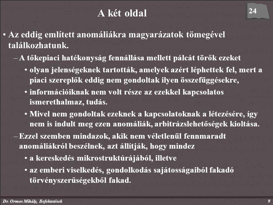 Dr. Ormos Mihály, Befektetések9 A két oldal Az eddig említett anomáliákra magyarázatok tömegével találkozhatunk. –A tőkepiaci hatékonyság fennállása m